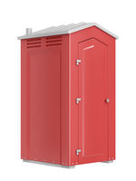 Red mobile toilet isolated on white