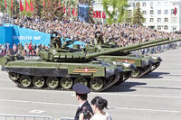 Russian military transport at the parade on annual Victory Day, May, 9, 2017 in Samara, Russia.