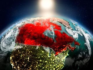 Canada in sunrise from orbit