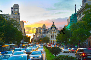 Madrid busy street, Spain