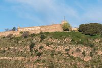 Montjuic fortress overlooking Barcelona harbor from the port