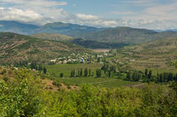 Vineyards and settlement in mountains of the Crimean peninsula