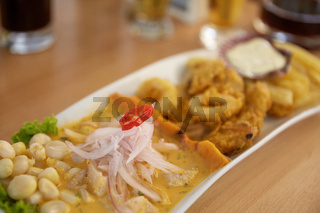 Typical and Traditional Peruvian Dish Seafood Ceviche