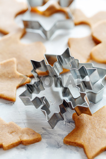 Cookie cutters for Christmas cookies.