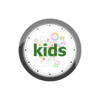 Text Kids on digital background. Education concept . Set of modern flat design concept icons for internet marketing. Watch clock isolated on white background