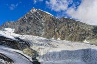 Allalinhorn über dem Allalingletscher, Saas-Fee, Wallis, Schweiz