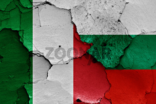 flags of Italy and Bulgaria painted on cracked wall