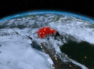 Ecuador from space at night