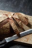 Fresh bread on wooden board