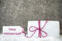 White Gift, Snowflakes, Label, Frohe Weihnachten Means Merry Christmas