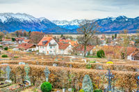 Traditional bavarian graveyard in the alps