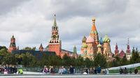 visitors in Zaryadye park and view of Kremlin