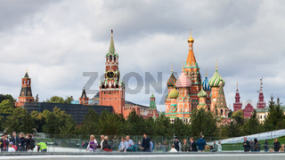 visitors in Zaryadye park and view of Kremlin