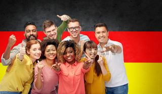 international people gesturing over german flag