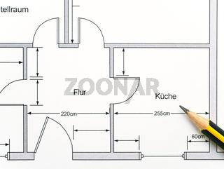 Grundriss Wohnung und Küche