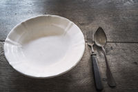 Vintage aged plate and cutlery