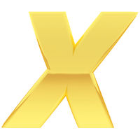 Gold alphabet symbol letter X with gradient reflections isolated on white. High resolution 3D image