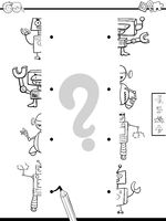 match halves of robots game coloring book