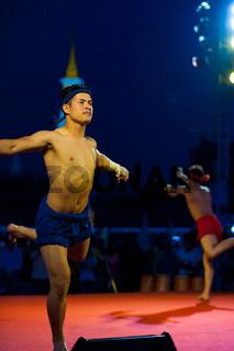 Men Muay Thai Kickboxing Ceremony Exhibition