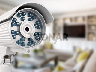 3d security camera with blurred room