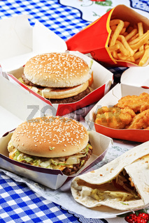 Fastfood on tablecloth