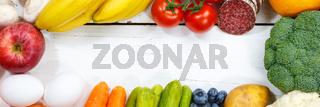 Obst und Gemüse Sammlung Lebensmittel Früchte essen kochen Banner Rahmen Textfreiraum von oben