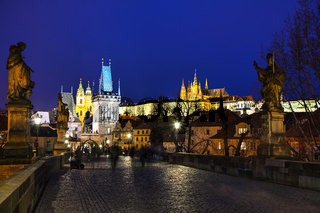 Charles bridge in the evening in Prague