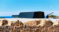 Castillitos Battery. Massive guns that defended Cartagena Bay. Murcia. Spain