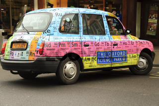 Oxford Taxi Displaying Periodic Table Oxfordshire UK