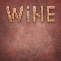 Word wine shaped by corks over grunge pink brown