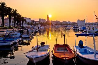 Golden morning sunrise in Split