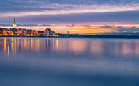 Bodensee lake in the sunrise colors