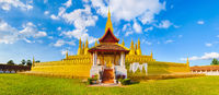 View of the Pha That temple. Vientiane, Laos. Panorama