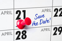 Wall calendar with a red pin - April 21