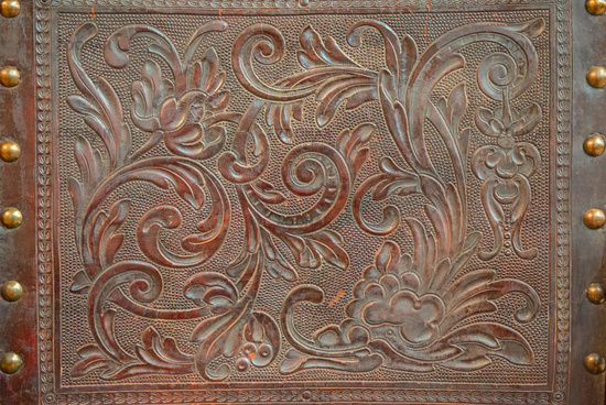 Vintage floral pattern on leather