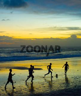 Soccer on the beach. silhouette