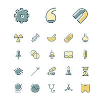 Thin line icons for science and medical