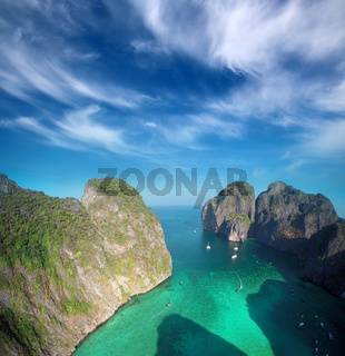 Aerial view on Maya bay in Thailand