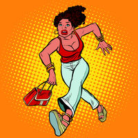 Beautiful woman with a bag running