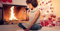 Attractive stylish woman celebrating Christmas