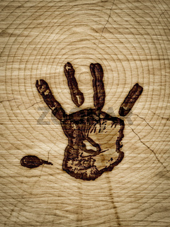 wood with hand branding