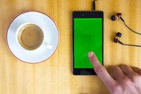 Smartphone green screen man hand