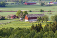 Rural view of a farm and fields