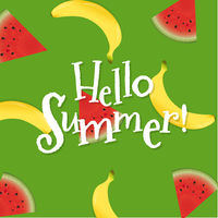 Summer Poster With Banana And Watermelon