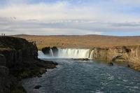 Famous waterfall Godafoss in autumn.