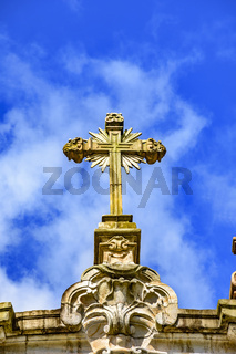 Church baroque style stone crucifix