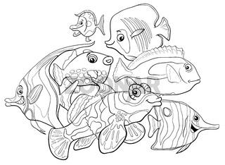 tropical fish animal characters coloring book