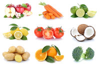 Obst und Gemüse Früchte Sammlung Äpfel, Orangen Tomaten Kokosnuss Essen Freisteller
