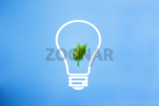 LED lamp with green leaf