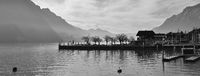 Scene in Brienz, Switzerland. Lake Brienzersee and mount Augstmatthorn. Quai.